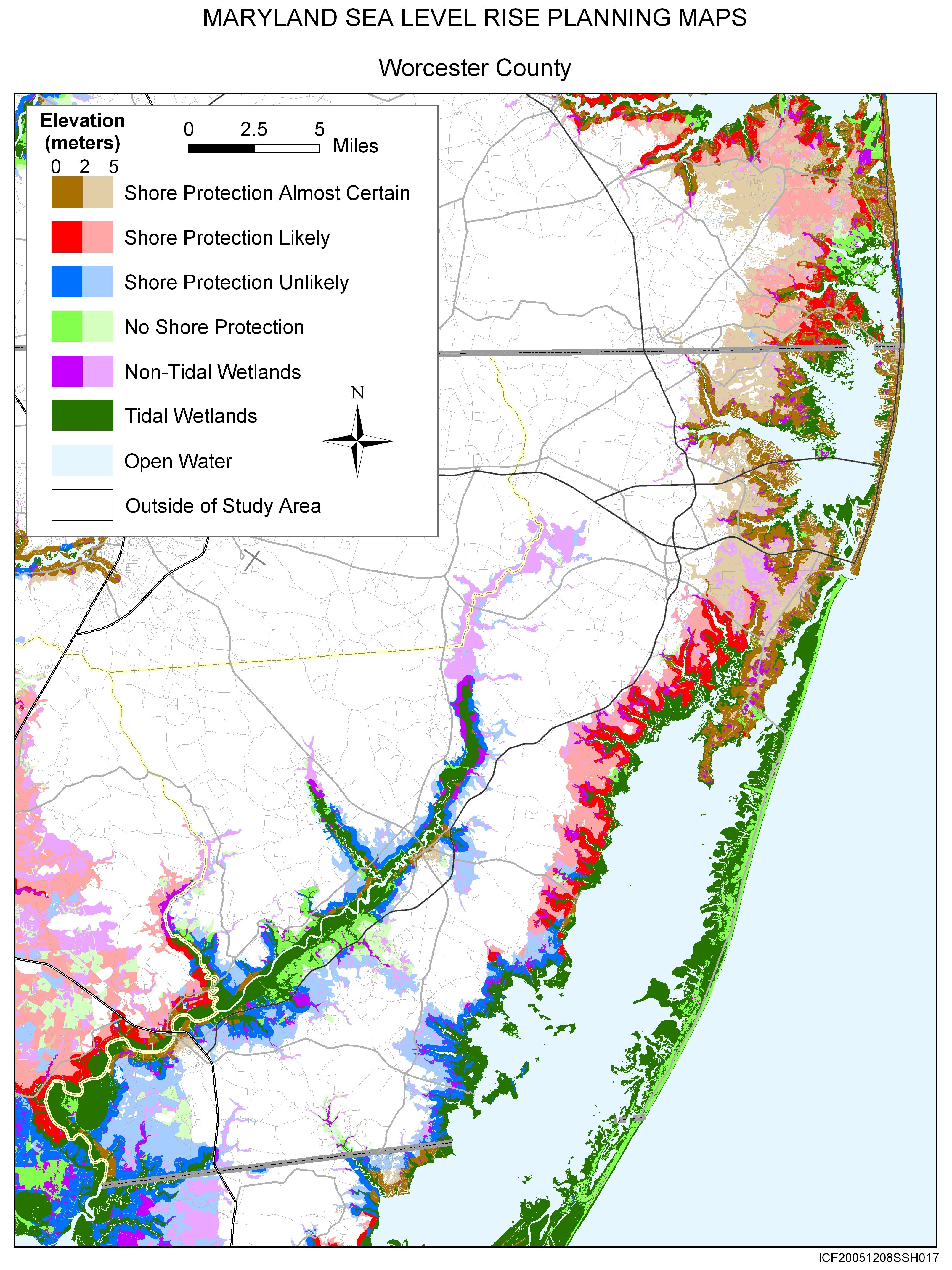 Water Elevation Map.Sea Level Rise Planning Maps