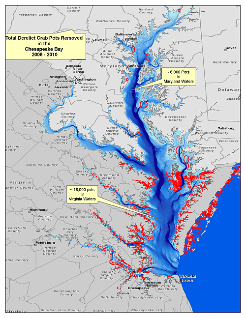 chesapeake bay debris removal map